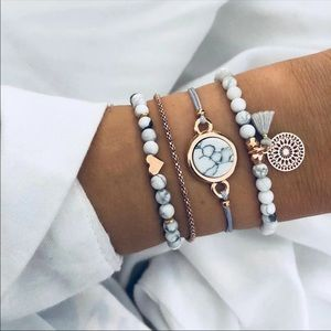 Jewelry - Stone heart marble gold bracelet set of 4 Nwt